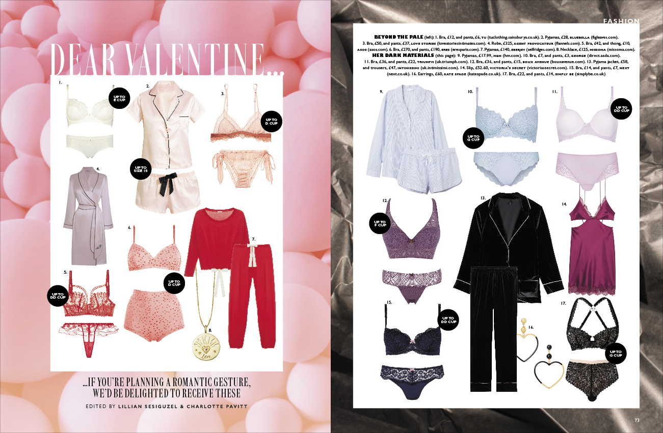 grazia magazine valentines day lingerie