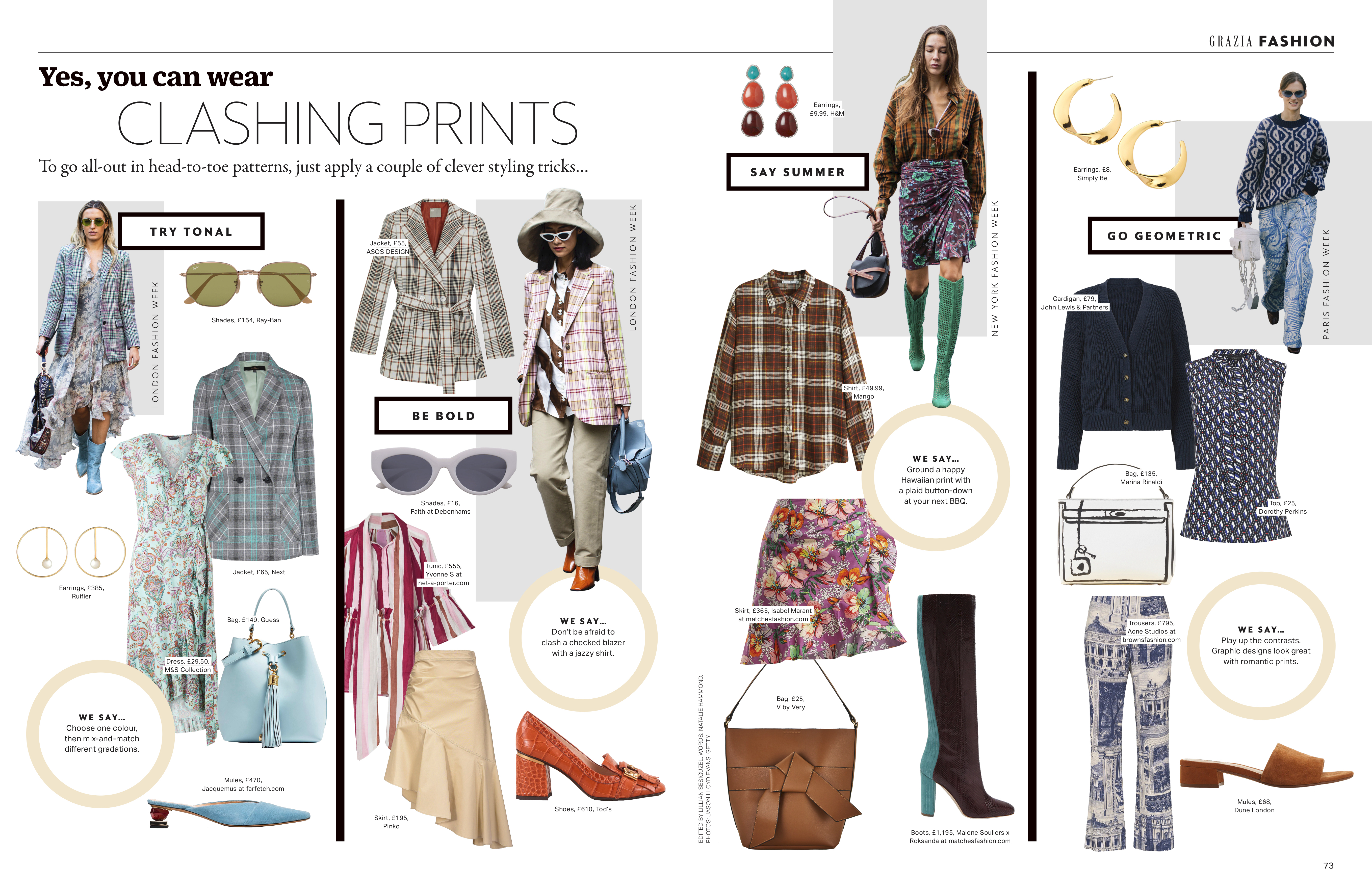 Grazia magazine yes you can wear clashing prints